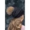 Натуральная меховая шапка Бэвэрли из енота