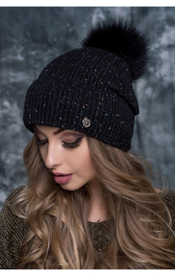 "Женская шапка ""Фиеста без бубона"" (kid mohair + lurex)"