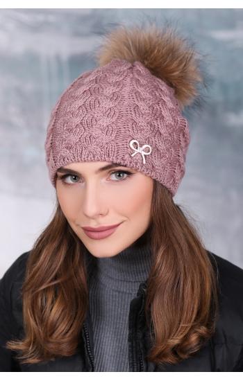 """Женская шапка """"Анис"""" (бубон енот)"""
